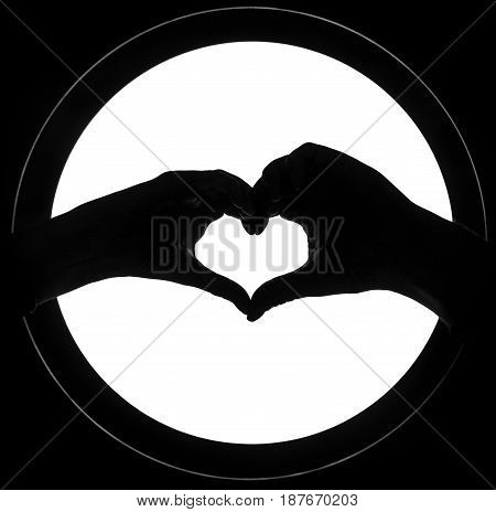 Hands in the form of heart isolated background. heart symbol with hand. valentines day card. Female and male hands silhouette in form of heart. hand gestures