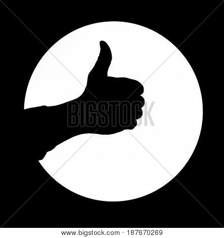Photo of Man hand silhouette thumb up white round background sign good