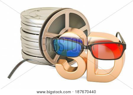 3D cinema concept 3D glasses and film reels 3D rendering isolated on white background