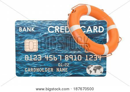 Credit card with lifebelt security payment concept. 3D rendering