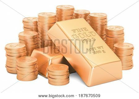 Gold ingots and golden coins 3D rendering isolated on white background
