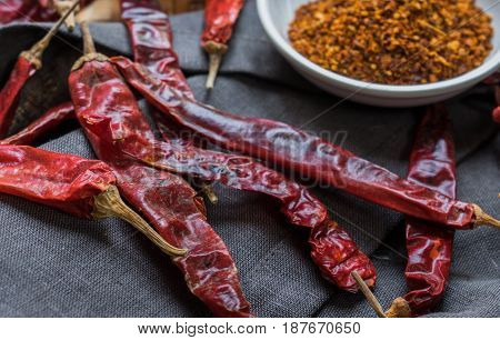Selective Focus Of Dry Red Chili And Chili Powder
