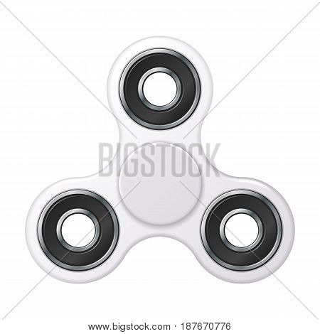 Hand fidget spinner toy - stress and anxiety relief. White basic color.