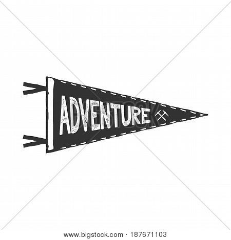Adventure pennant design. Monochrome pendant template. Typography pennant isolated on white background. Stock Vector illustration.