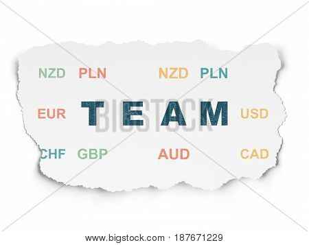 Business concept: Painted blue text Team on Torn Paper background with  Currency