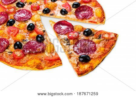 Italian pizza with salami pepperoni, closeup isolated on white, one slice cut
