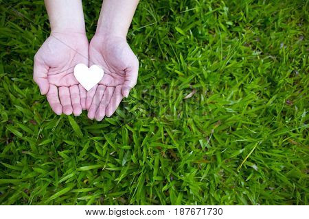 Two hands holding white heart with green grass background.