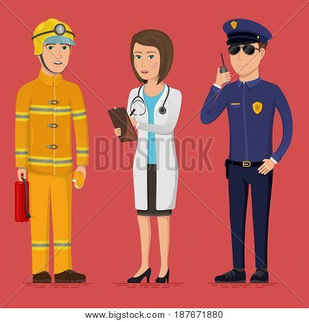 Firefighter, paramedic and policeman. Specialists of the emergency service. Public safety worker characters. Vector illustration in a flat style. Group of attractive people of different professions.