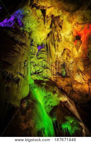Tourists in Grotta Gigante - the biggest cave in Europe, located near Trieste, Italy