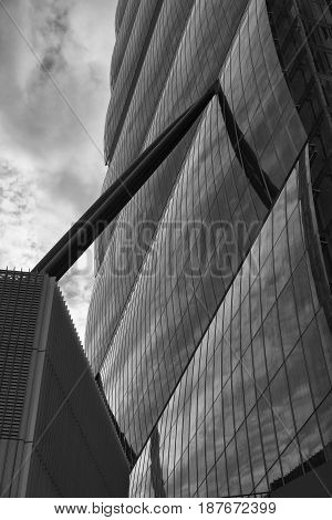 MILAN, ITALY - MARCH 26, 2017: Milan (Lombardy Italy): the skyscraper known as Allianz Building in the new CItylife area (Tre Torri). Black and white
