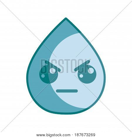 silhouette kawaii nice angry drop water, vector illustration design