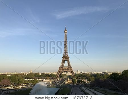 View of the Eiffel Tower in Paris with my eyes