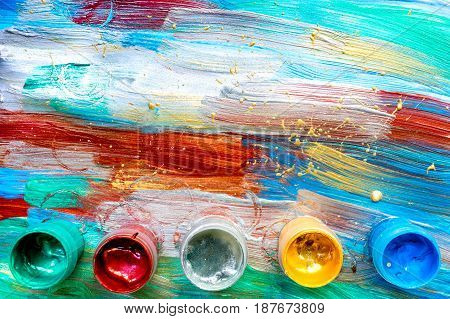 Artists oil multicolored abstract texture wih paint set for background top view