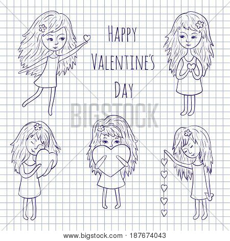 Vector illustration for the holiday of love. Cute girl and heart on a notebook sheet. Hand-drawn.