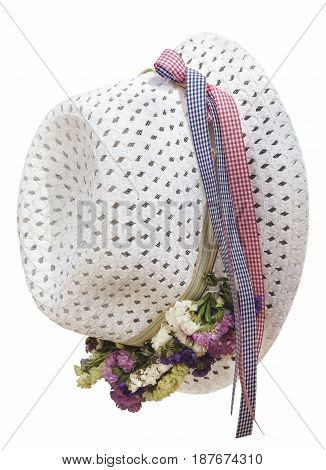 white straw summer hat isolated on white background