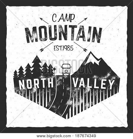 Mountain camp poster. North valley sign with rv trailer. Classic design. Outdoor adventures logo, retro colors. Graphic print design, tee shirt prints template. Vintage label, .