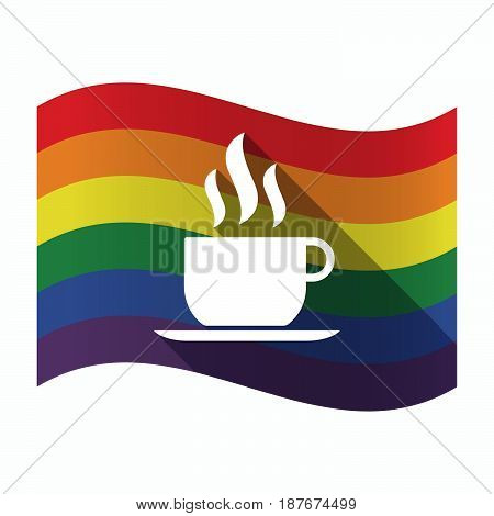 Isolated Gay Pride Flag With A Cup Of Coffee