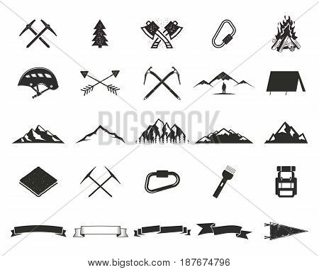 Mountain expedition silhouett icons set. Climb and camping shapes collection. Simple black pictograms. Use for creating logo, labels and other adventure designs. isolated on white.