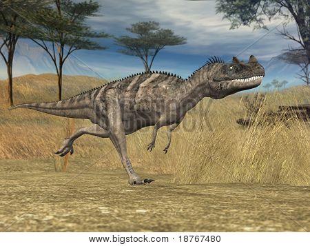 ceranosaurus in prehistoricn savanna