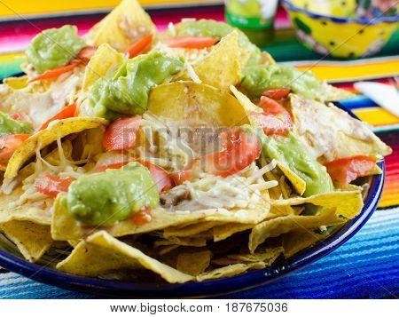 nachos con guacamole y tomate. Nachos with guacamole and tomato.