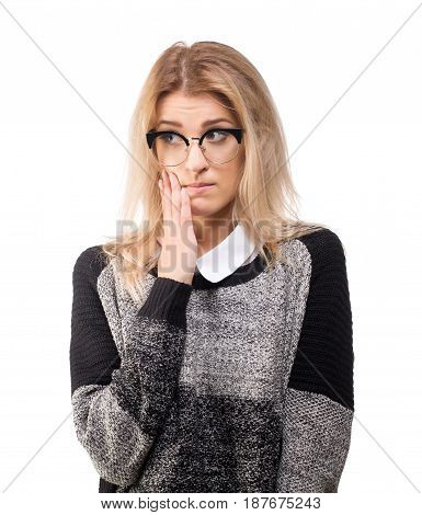 Shocked young business woman isolated on white.