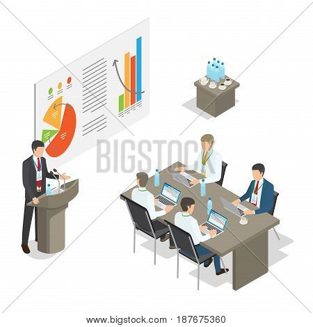 Business meeting top managers in office. For managers sitting at desk with laptops and leading specialist speaking at podium. Table with cups of tea and bottles of water in room vector illustration