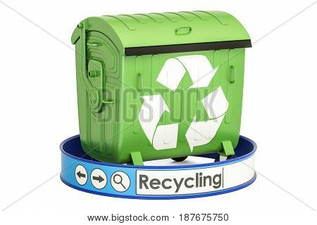 recycling concept with garbage container 3D rendering isolated on white background