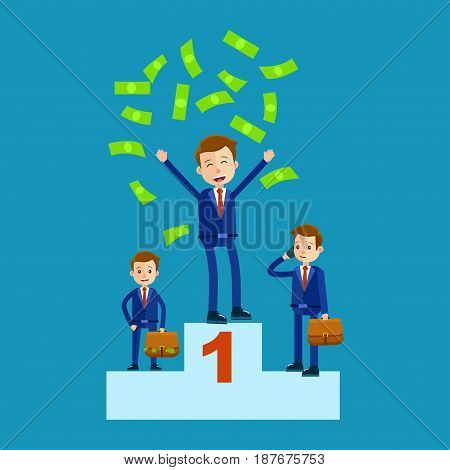 Managers on top places with money rain isolated on blue. Green money falling on manager in first place, other two men standing with brown bags full of money vector illustration in cartoon style.