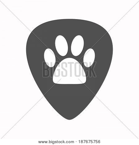 Isolated Guitar Plectrum With An Animal Footprint