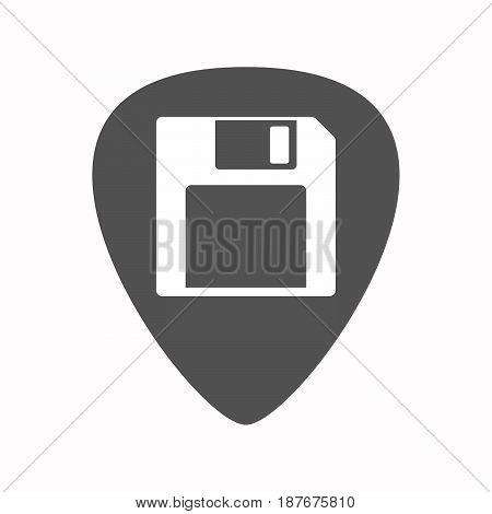 Isolated Guitar Plectrum With A Floppy Disk