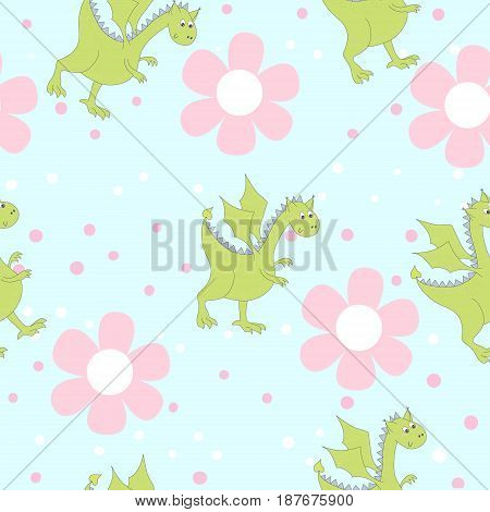 Cartoon dragons in flowers. Childish bright floral pattern in vector.