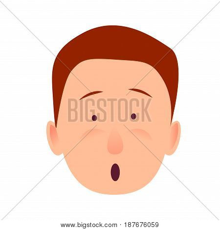 Bug-eyed man-child with open mouth flat design on white background. Surprised boy face close-up portrait. Vector illustration of character and face emotions in cartoon style hand drawn pattern.