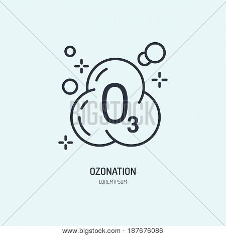 Ozon molecule flat line icon. Vector sign of clothes ozonation in dry cleaning services.