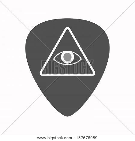 Isolated Guitar Plectrum With An All Seeing Eye