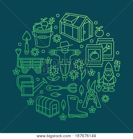 Gardening, planting, horticulture banner with vector line icon. Garden equipment, green house, scarecrow, pruners, watering can and other tools. Vegetables, flower cultivation poster for organic farm.