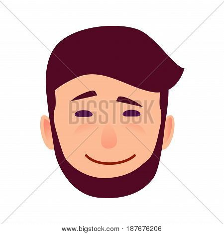 Facial expression of sarcasm isolated on white background. Bearded man with arched eyebrow, piercing eyes and sarcastic smile vector illustration. Mockery manifestation on male character face.