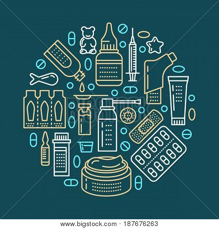 Medical, drugstore poster template. Vector medicament line icons, illustration of dosage forms - tablet, capsules, pills. Medicines antibiotics vitamins, painkiller, aerosol spray. Healthcare banner.