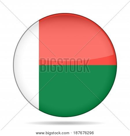 National flag of Madagascar. Shiny round button with shadow.