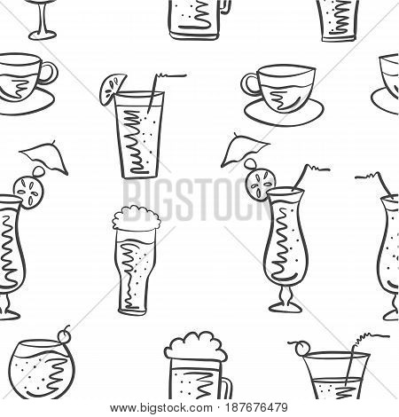 Vector illustration drink doodle style collection stock