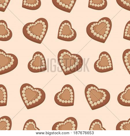 appetizing, aromatic, background, beige, birthday, bright, brown, candies., celebration, chocolate, cinnamon, cocoa, Chocolate hearts. Candies. Seamless pattern. Design for textiles, napkins, tapestries, tablecloths, wrapping paper