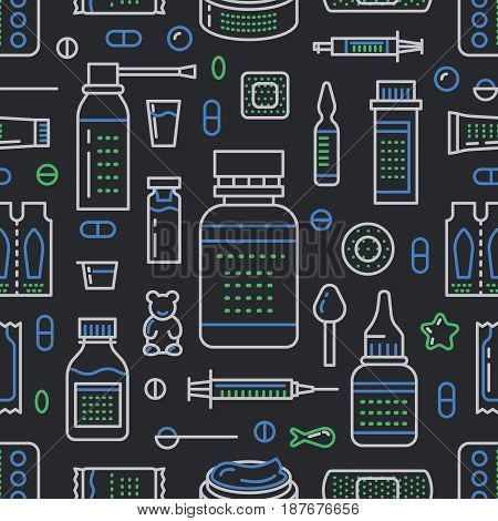 Medical, drugstore seamless pattern, pharmacy vector colored background of dark color. Medicines antibiotics, vitamins, painkillers, pills. Healthcare cute repeated illustration for hospital.