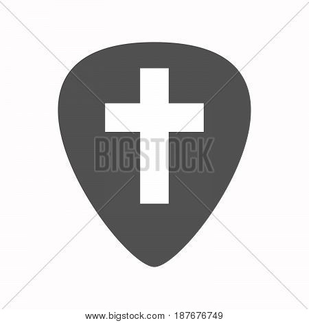Isolated Guitar Plectrum With A Christian Cross