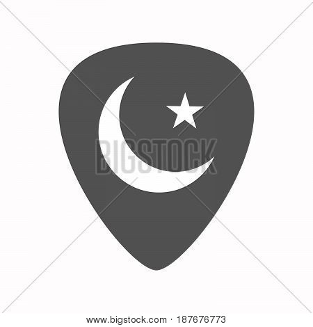 Isolated Guitar Plectrum With An Islam Sign