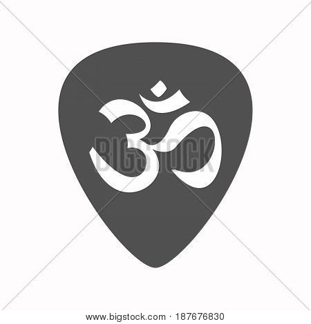Isolated Guitar Plectrum With An Om Sign
