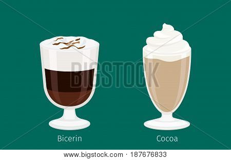 Glass cup with cocoa flat vector. Sweet invigorating drinks with caffeine. Tasty bicerin with cream, hot chocolate and nasty additives illustration for coffee house and cafe menu design