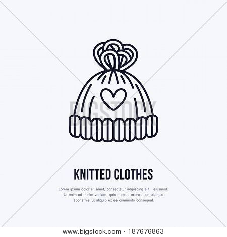Illustration of woolen hat. Knitted clothing shop line logo. Vector flat sign for atelier or garment shop.