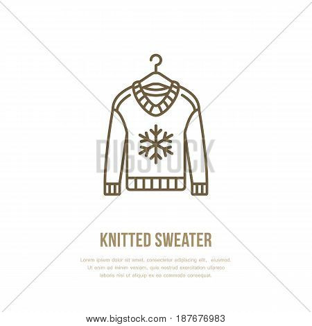 Illustration of woolen sweater. Knitted clothing shop line logo. Vector flat sign for atelier or garment shop.