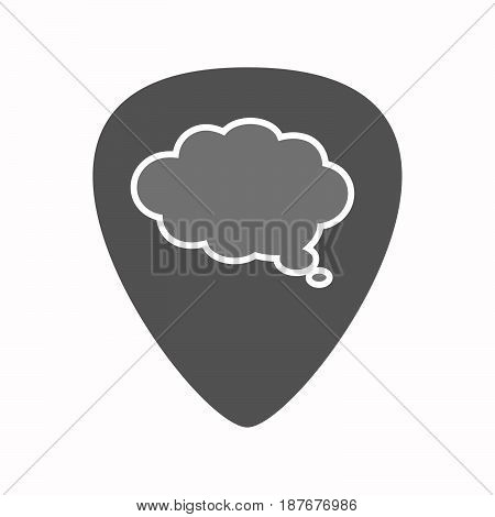 Isolated Guitar Plectrum With A Comic Cloud Balloon