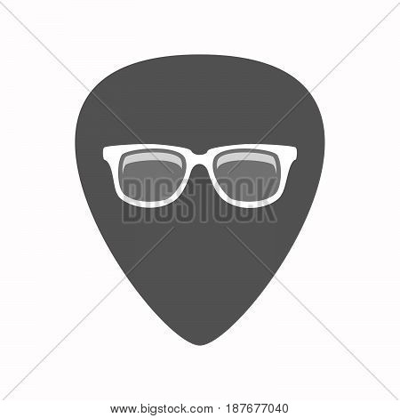 Isolated Guitar Plectrum With A Glasses