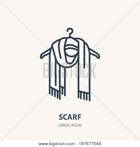 Illustration of woolen scarf. Knitted clothing shop line logo. Vector flat sign for atelier or garment shop.